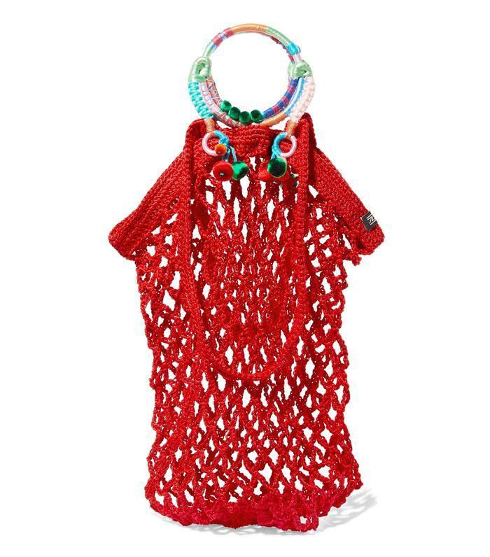 Fishnet Pompom-embellished Macramé Tote