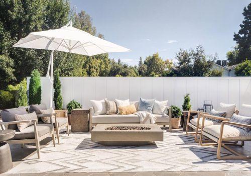 Outdoor patio with umbrella