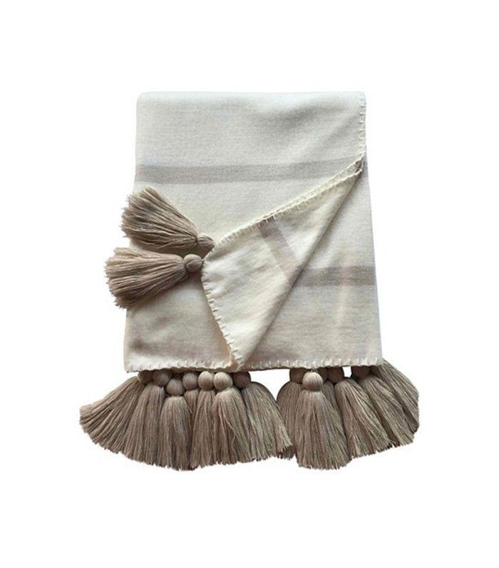 Nate Berkus for Target Striped Tassle Throw Blanket Ivory