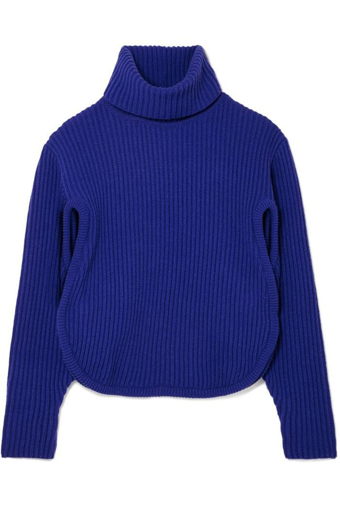 Cutout Ribbed Wool And Cashmere-blend Turtleneck Sweater