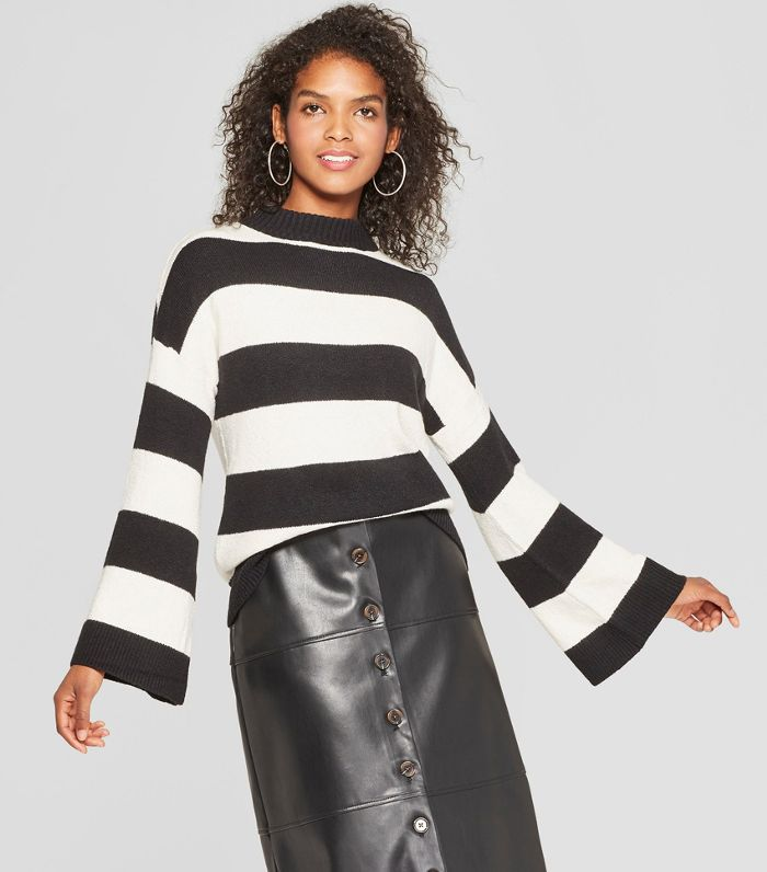 Striped Long Wide Sleeve Pullover Sweater