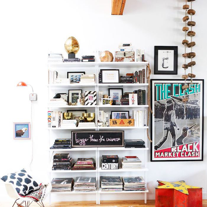 Cozy Home Advice: Books and other reading materials on an open shelf