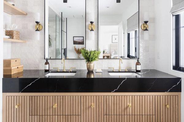Textured tile bathroom.