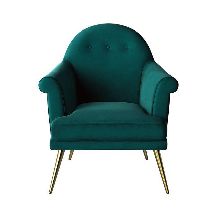 Target Myna Tufted Arm Chair With Brass Legs Velvet Green