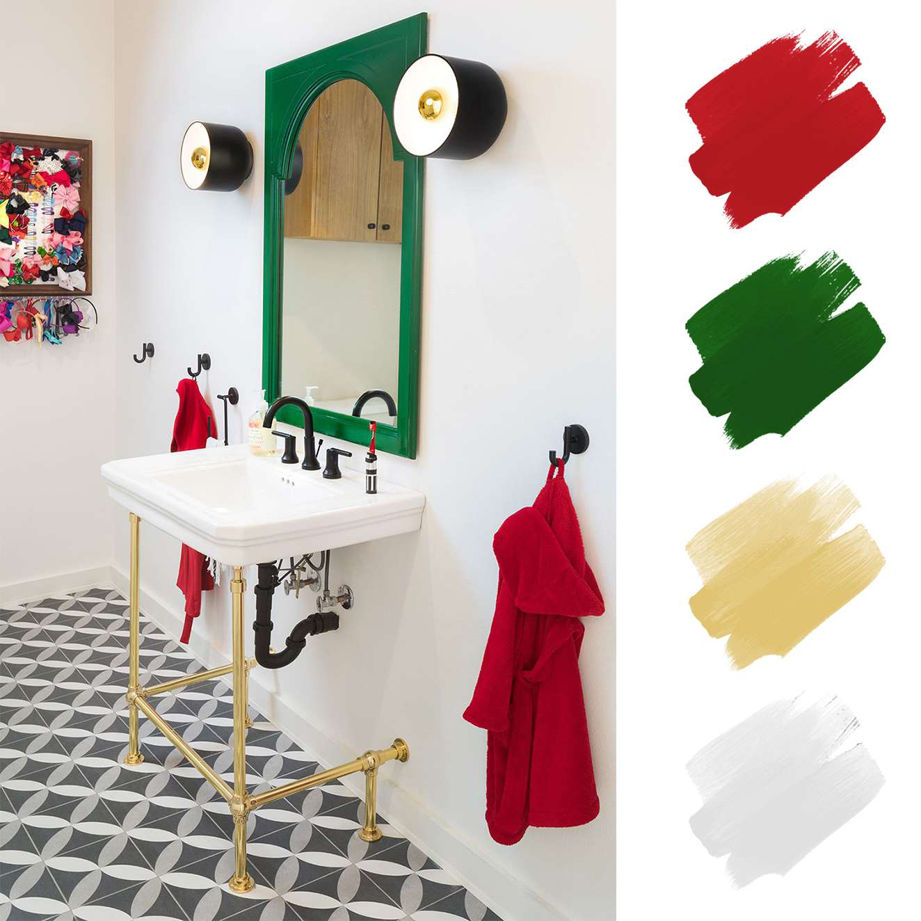 complementary color schemes - red and green bathroom with gold accents
