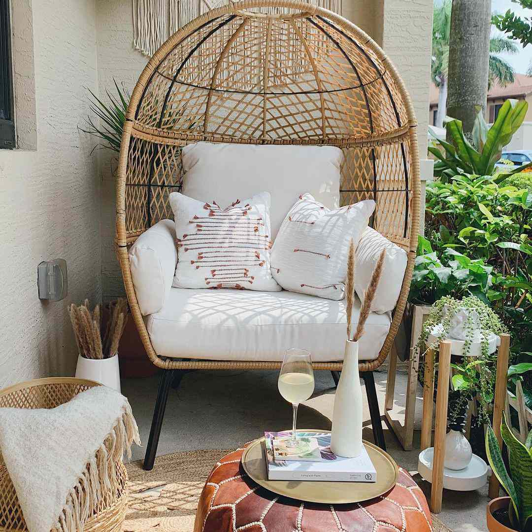 Patio with an egg chair