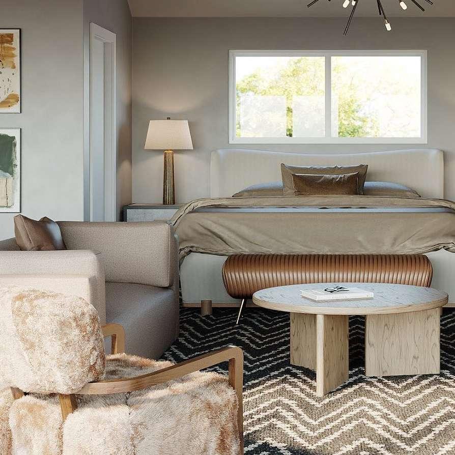 Beige midcentury bedroom