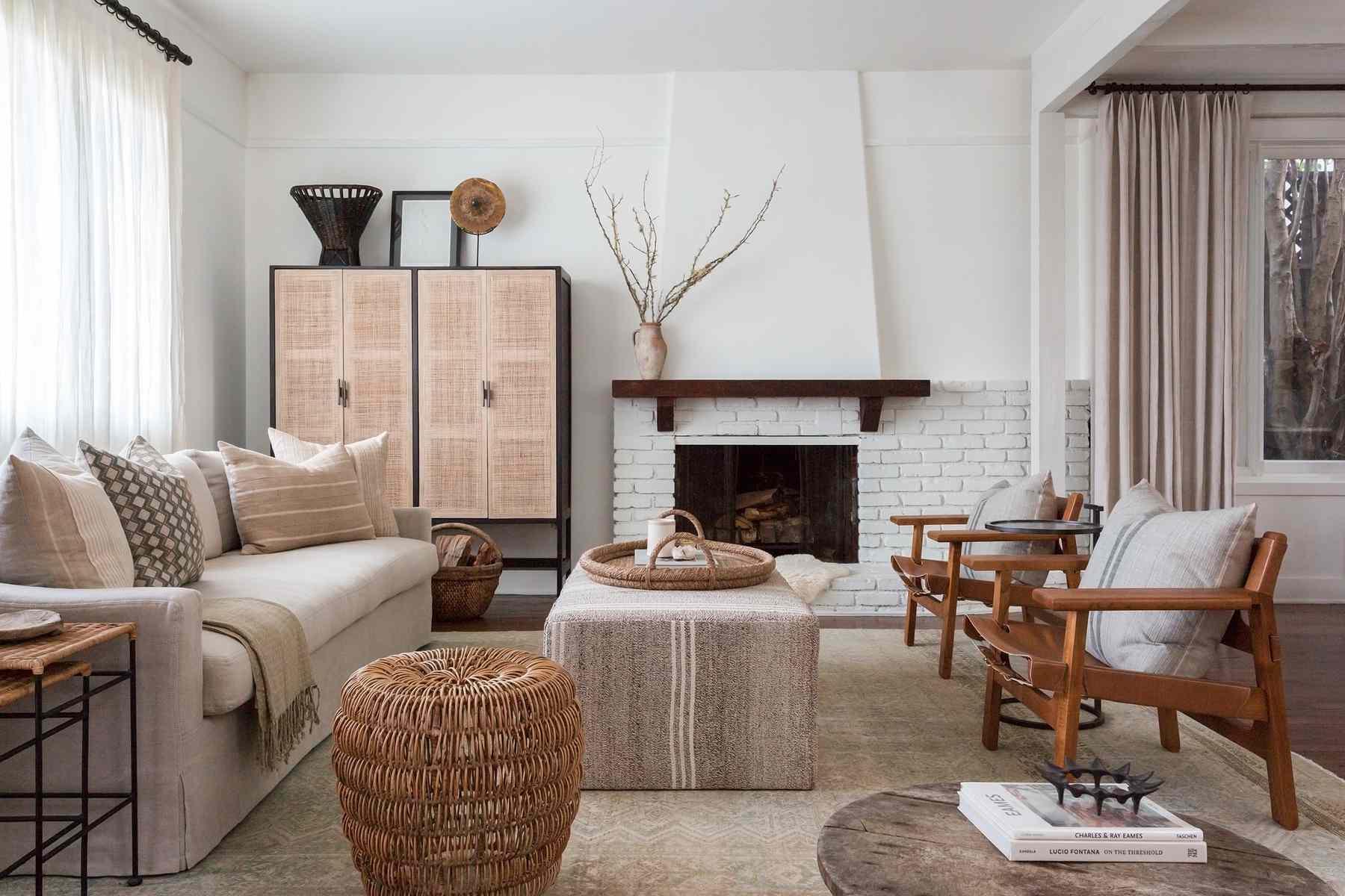 Rustic neutral living room.