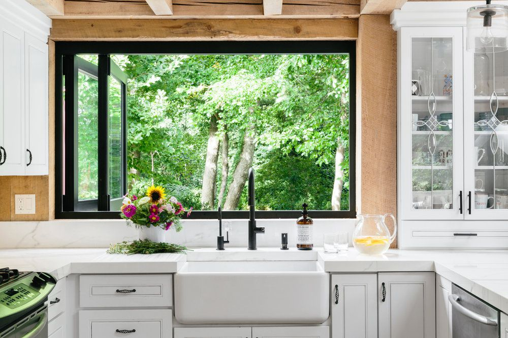 Kitchen with a large window
