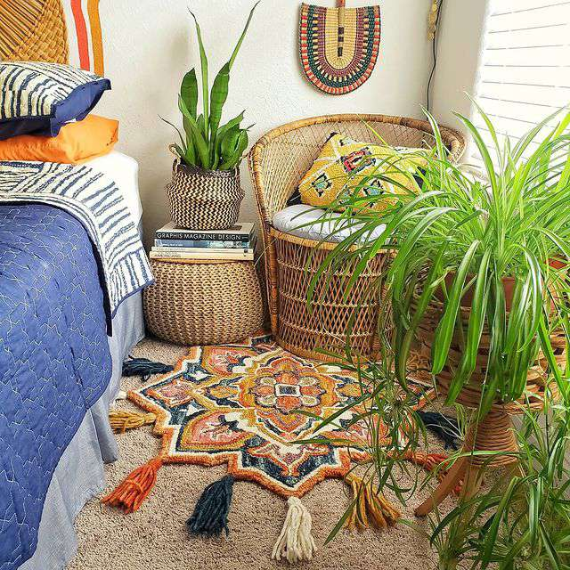 Spider plant in a boho bedroom