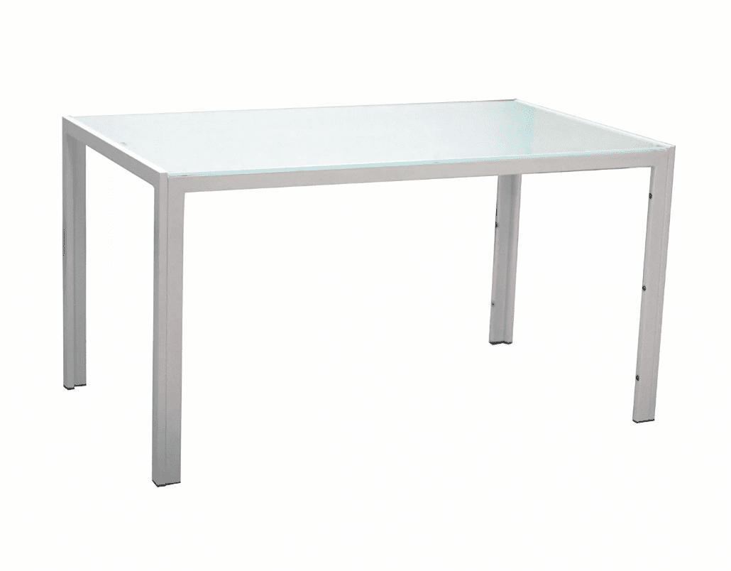 A white fining table with a glass top.