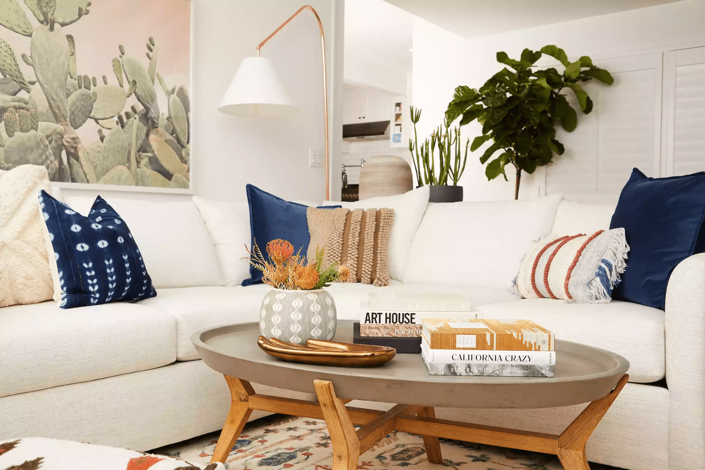 Gina Rodriguez's beach and bohemian living room
