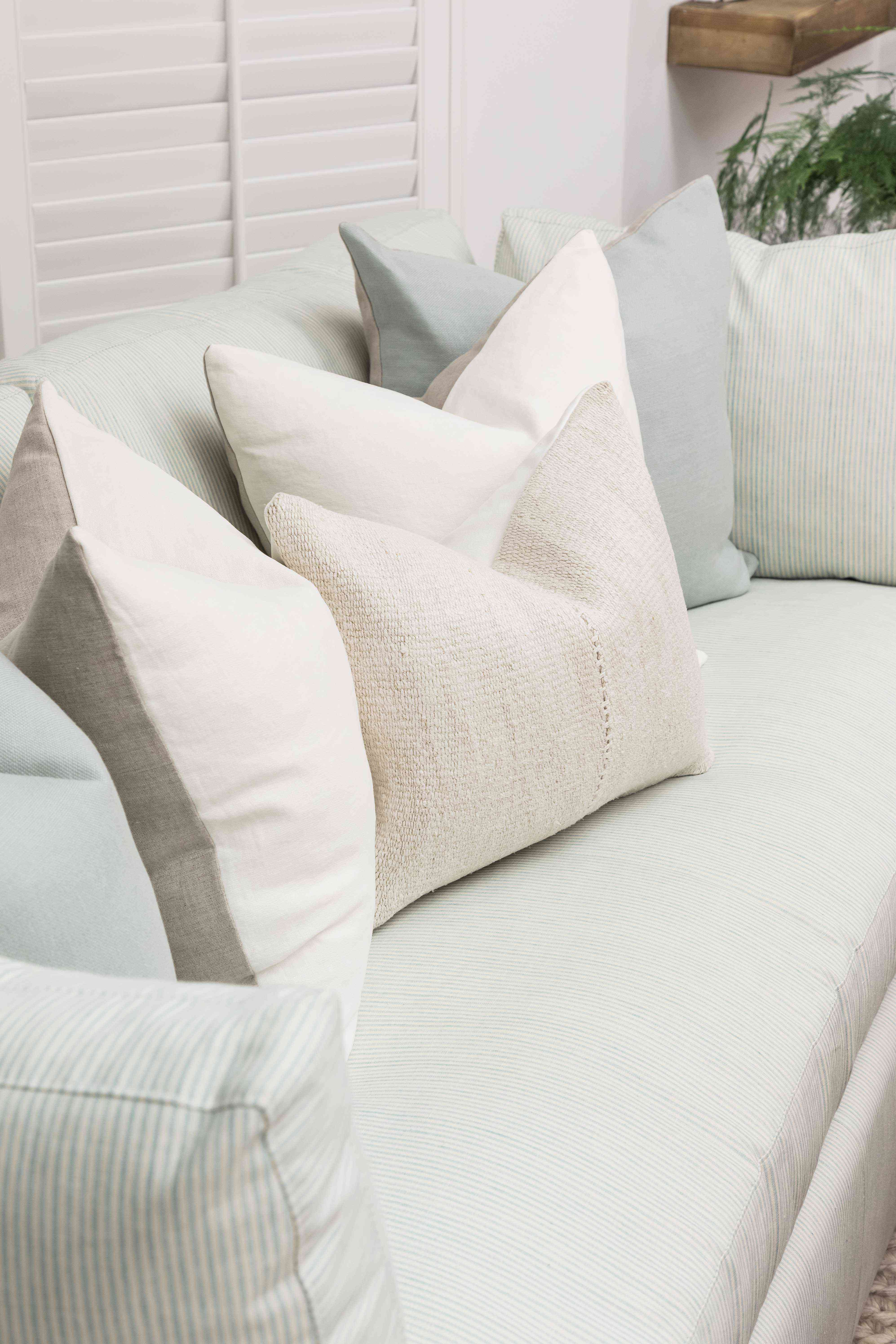 Close-up of neutral sofa.