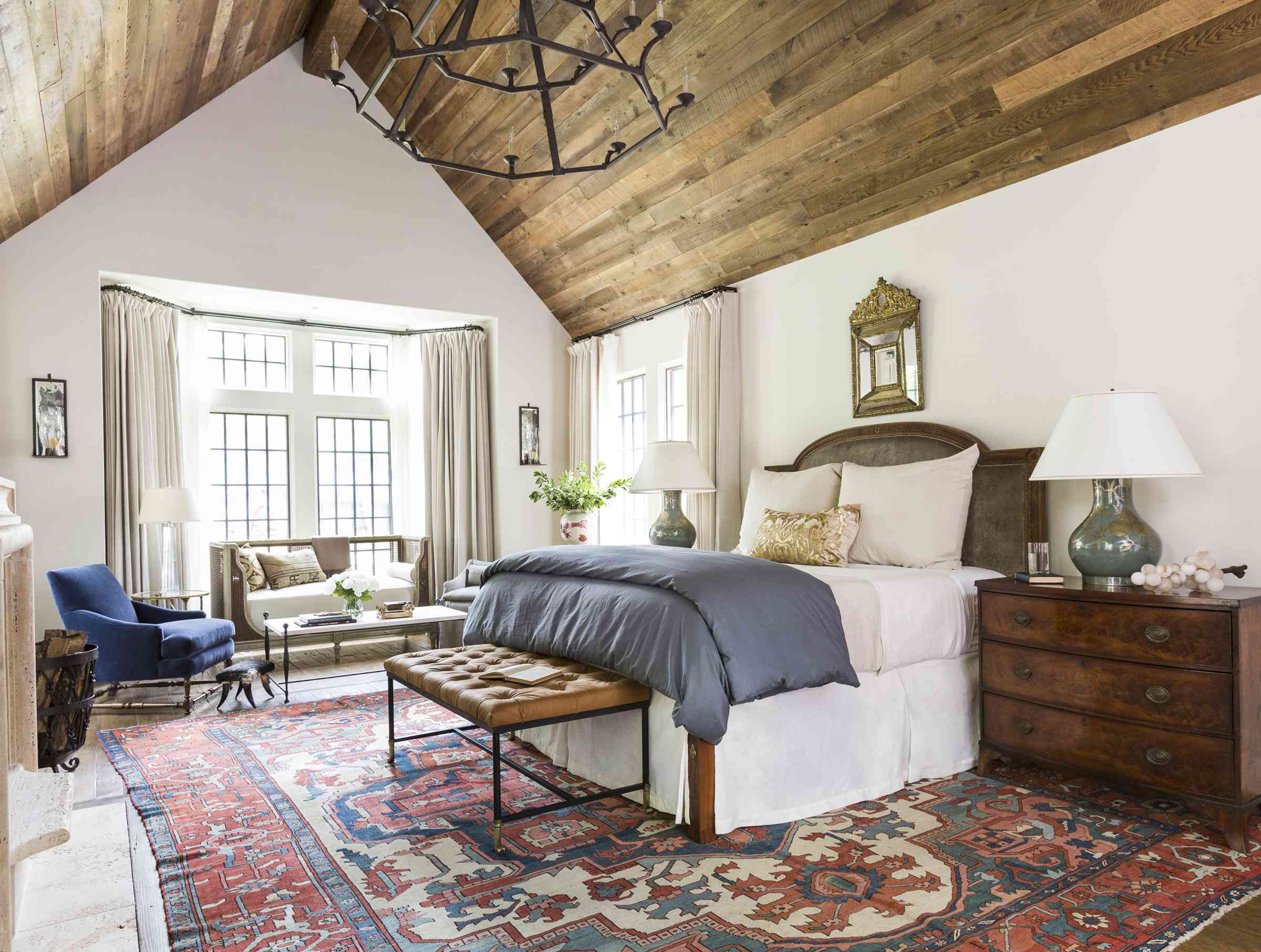 Rustic bedroom with navy accents