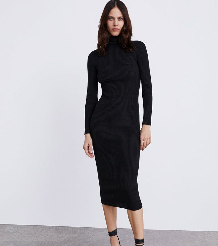 Zara Long Ribbed Knit Dress