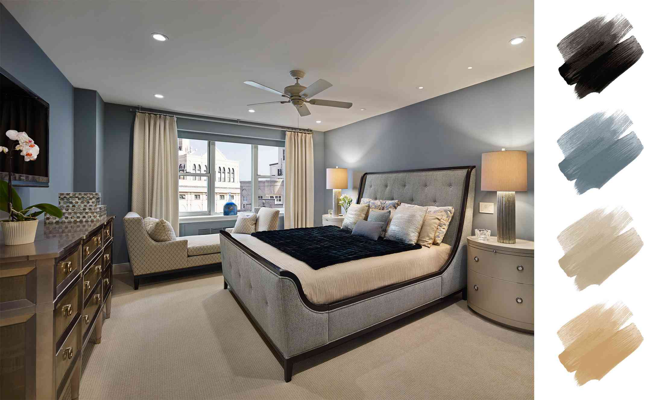 neutral color scheme - blue gray bedroom with tan and beige accents