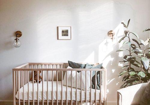 Neutral nursery with print rug