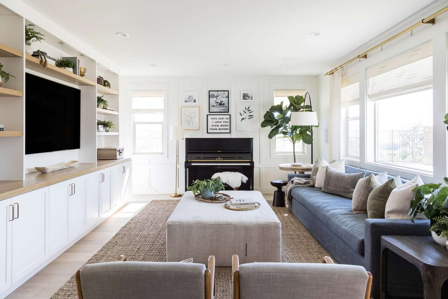 Cozy living room with an ottoman coffee table