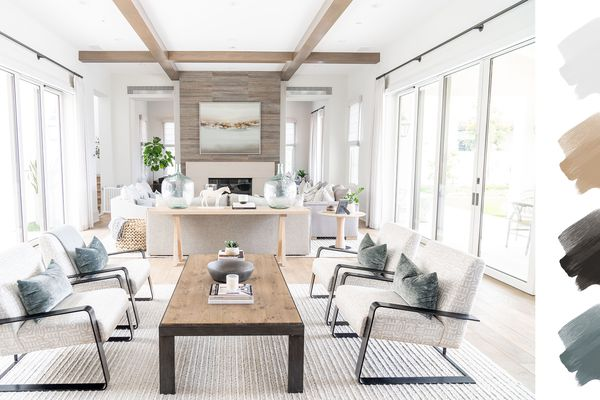 neutral color palette - blue gray, brown, white, and wood living room