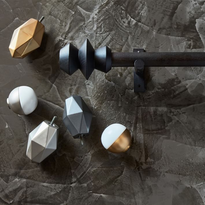 Faceted finials in various finishings.