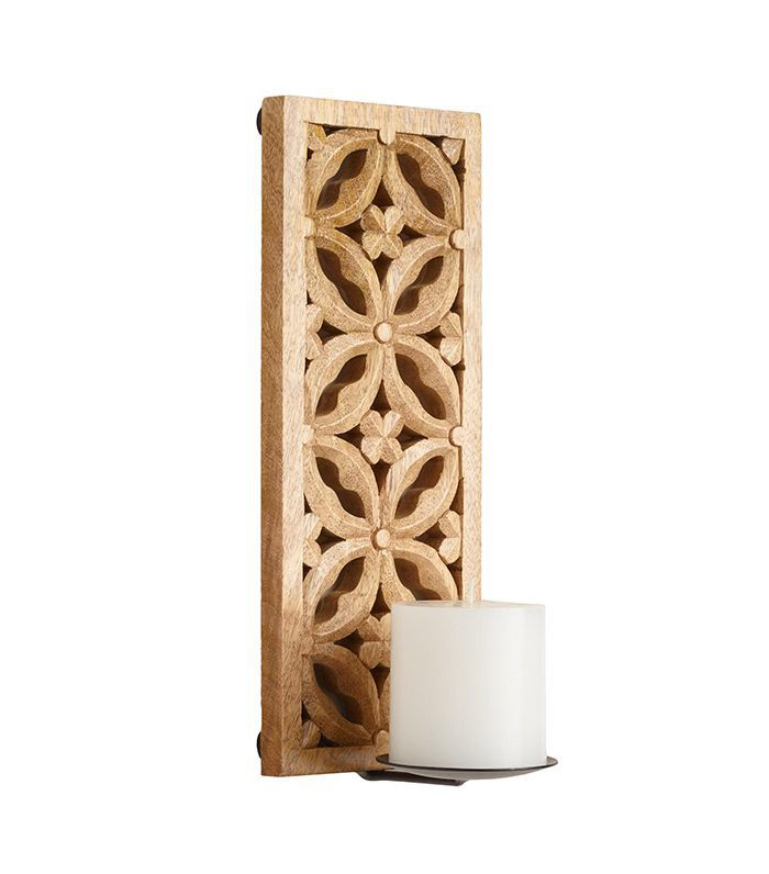 Natural Carved Mango Wood Sconce by World Market