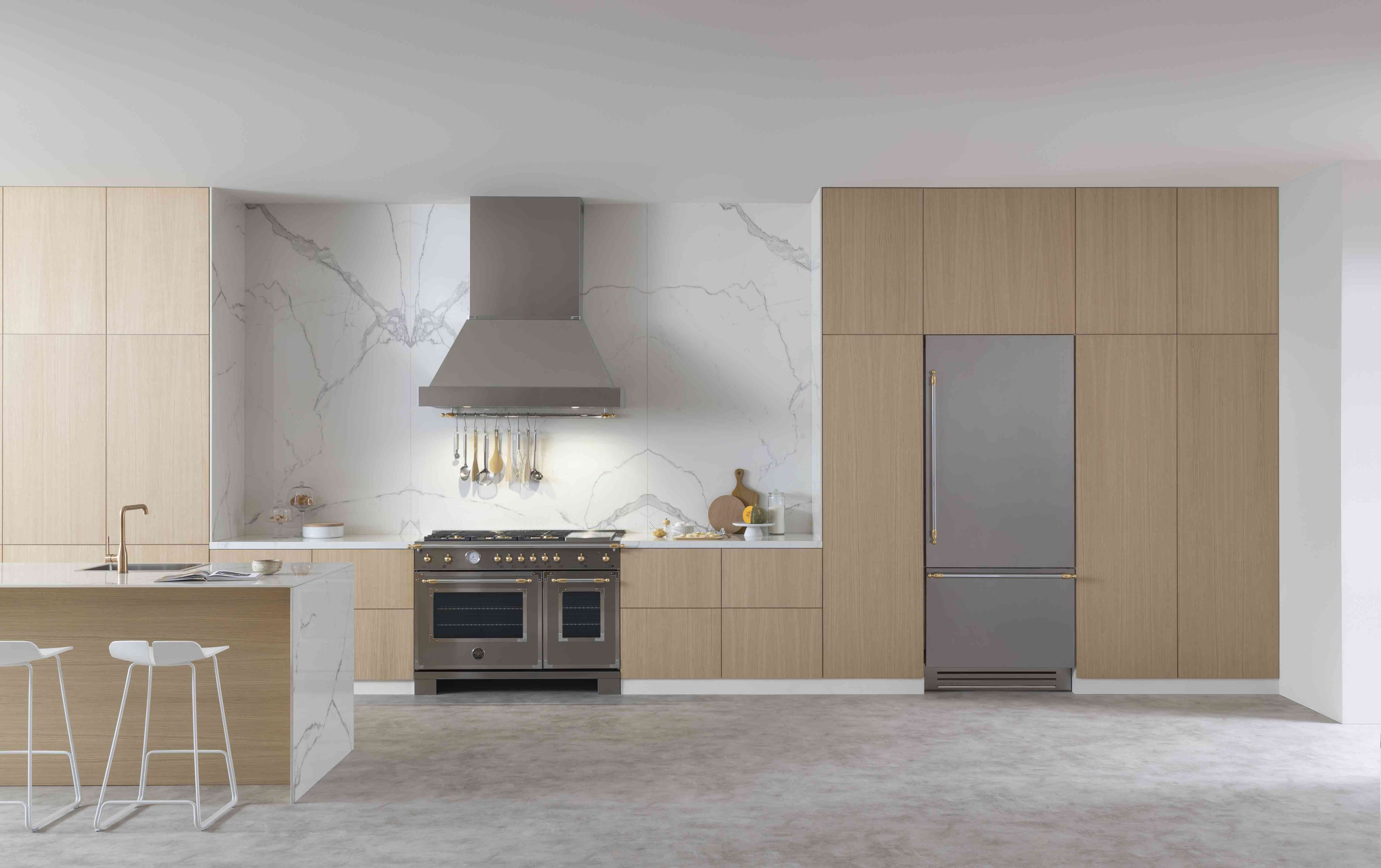 Sleek kitchen with light cabinets.
