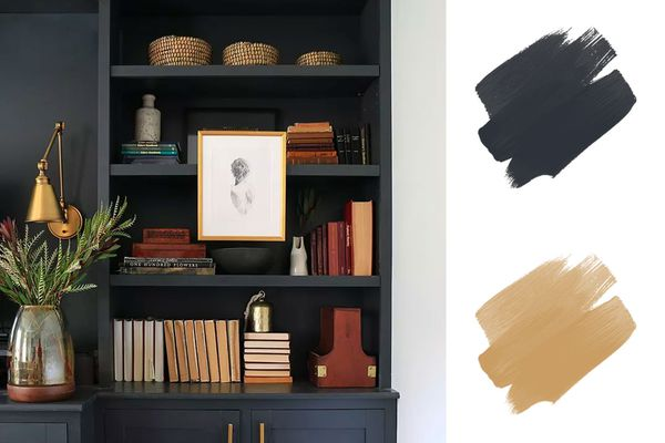 best earth tone color palettes - gray wand wood tones bookcase