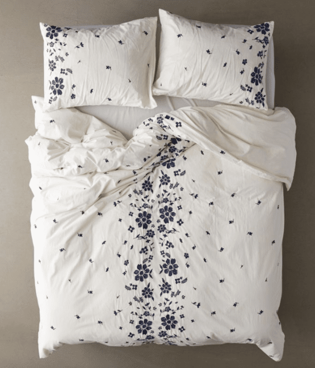 Urban Outfitters Samantha Embroidered Floral Duvet Cover