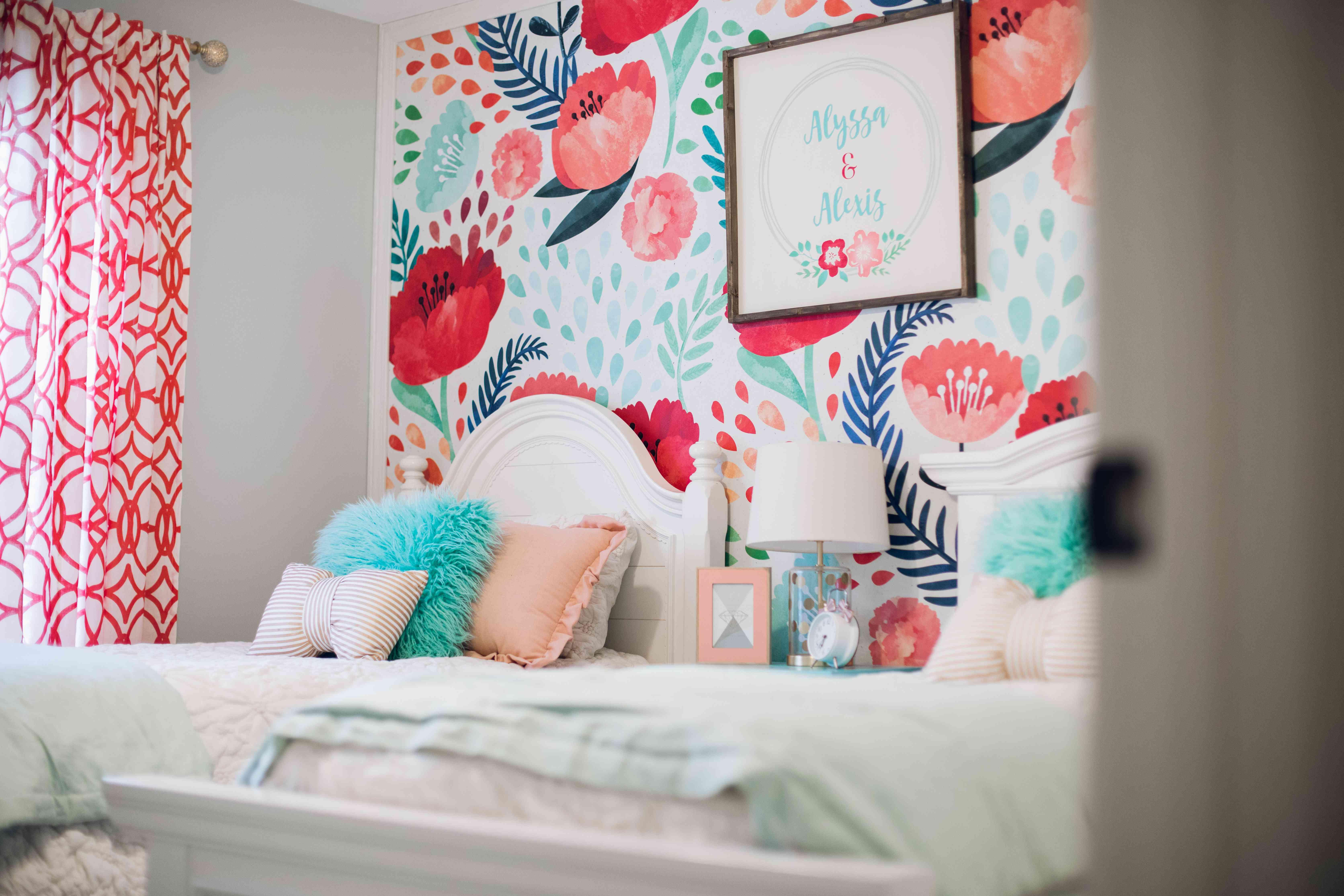 Colorful floral girls bedroom.