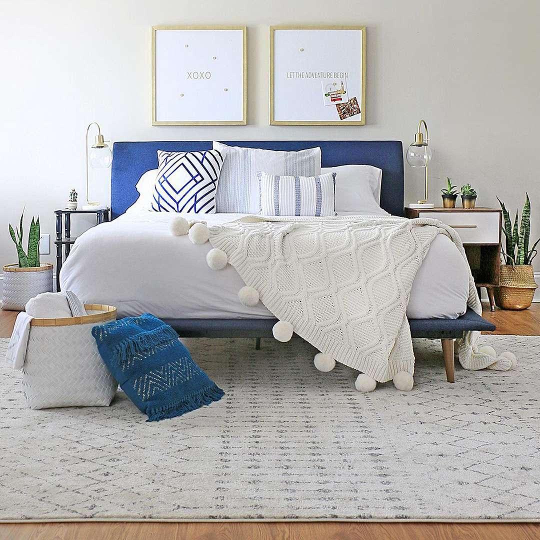 Blue themed bedroom