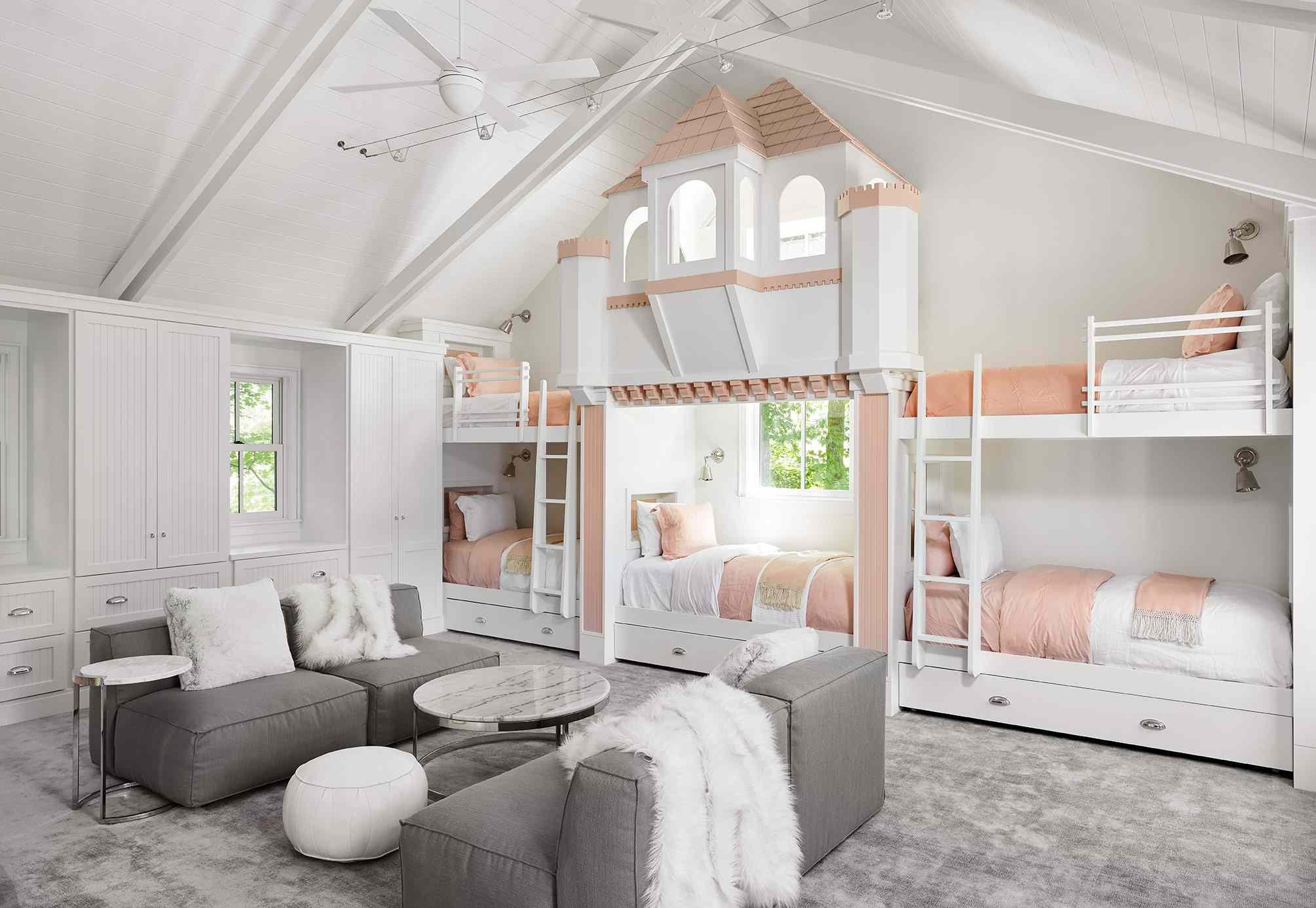 Pink bunk bed room
