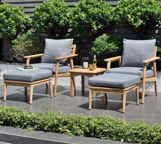 Pottery Barn Valley Teak Patio Set with Cushions