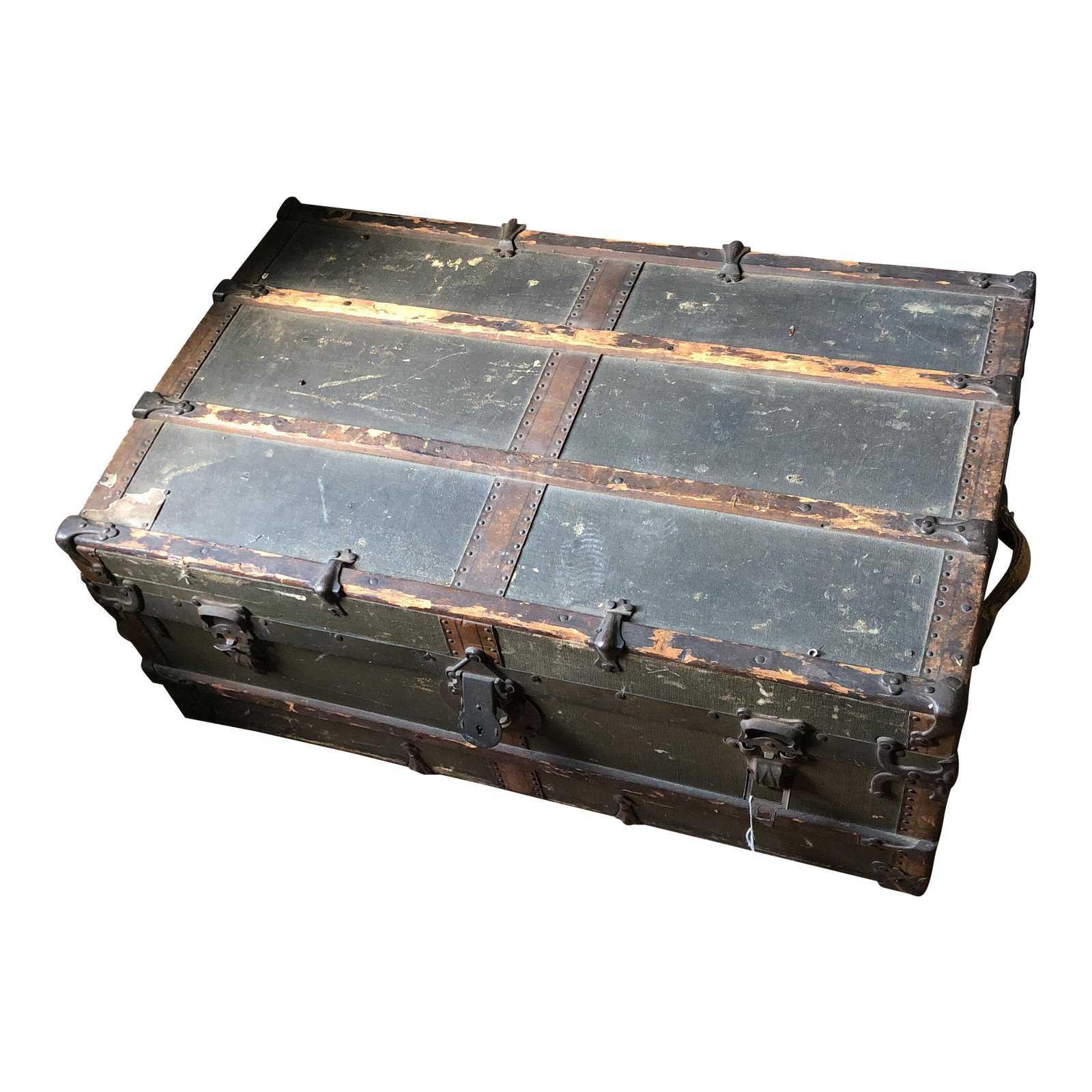 Vintage wooden steamer trunk