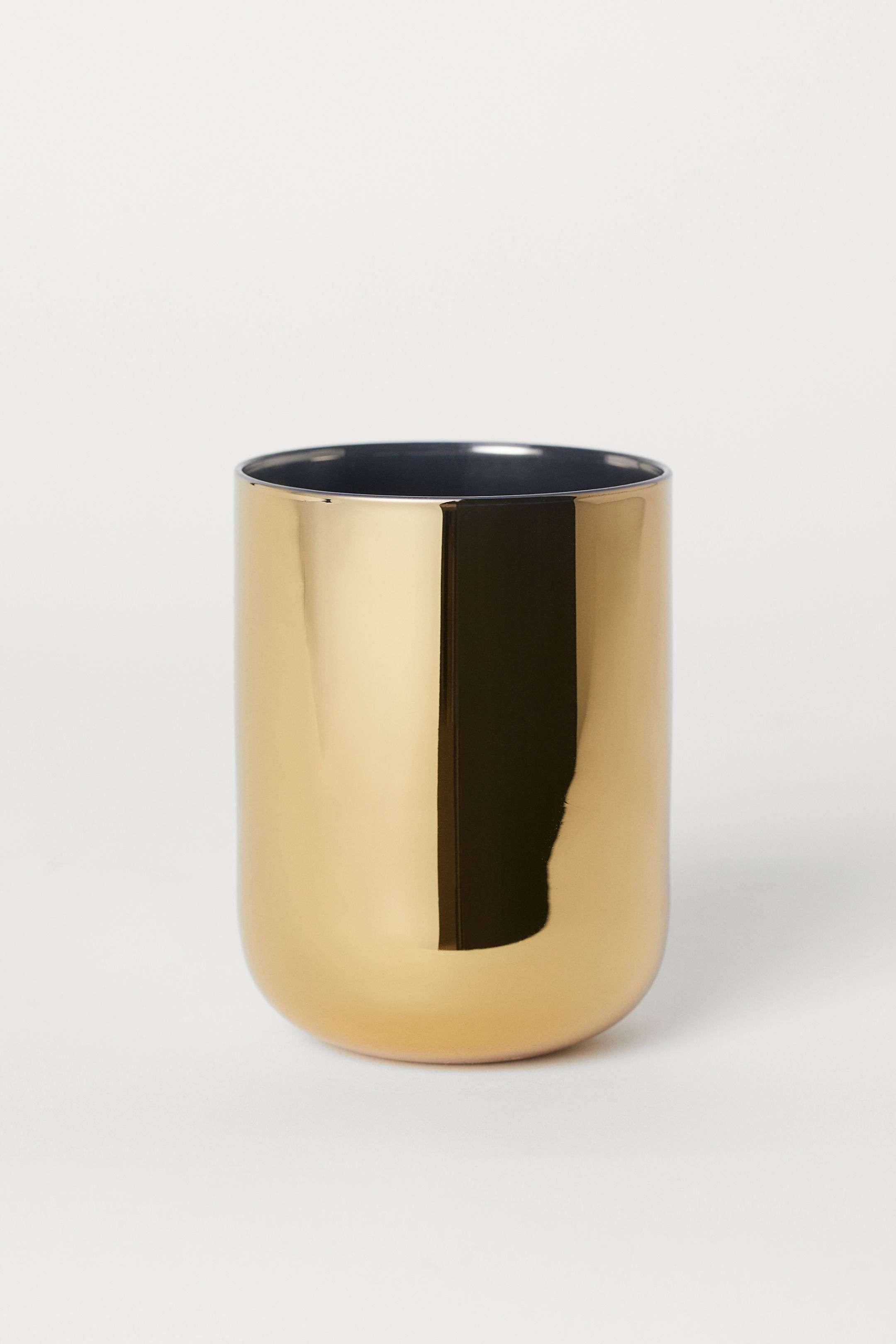 gold toothbrush mug