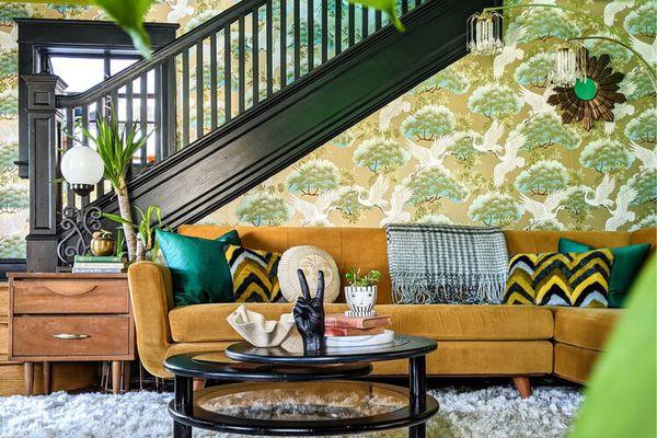Green eclectic living room.