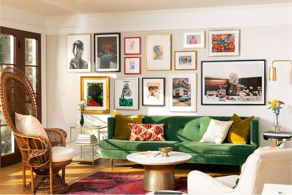 Colorful living room featuring Framebridge Black Artists prints.