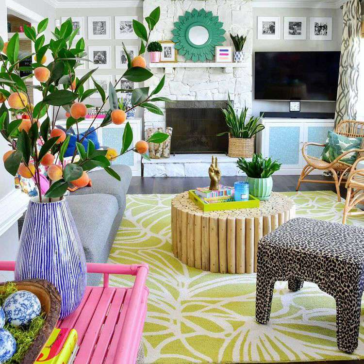 Colorful eclectic living room with faux orange plant.