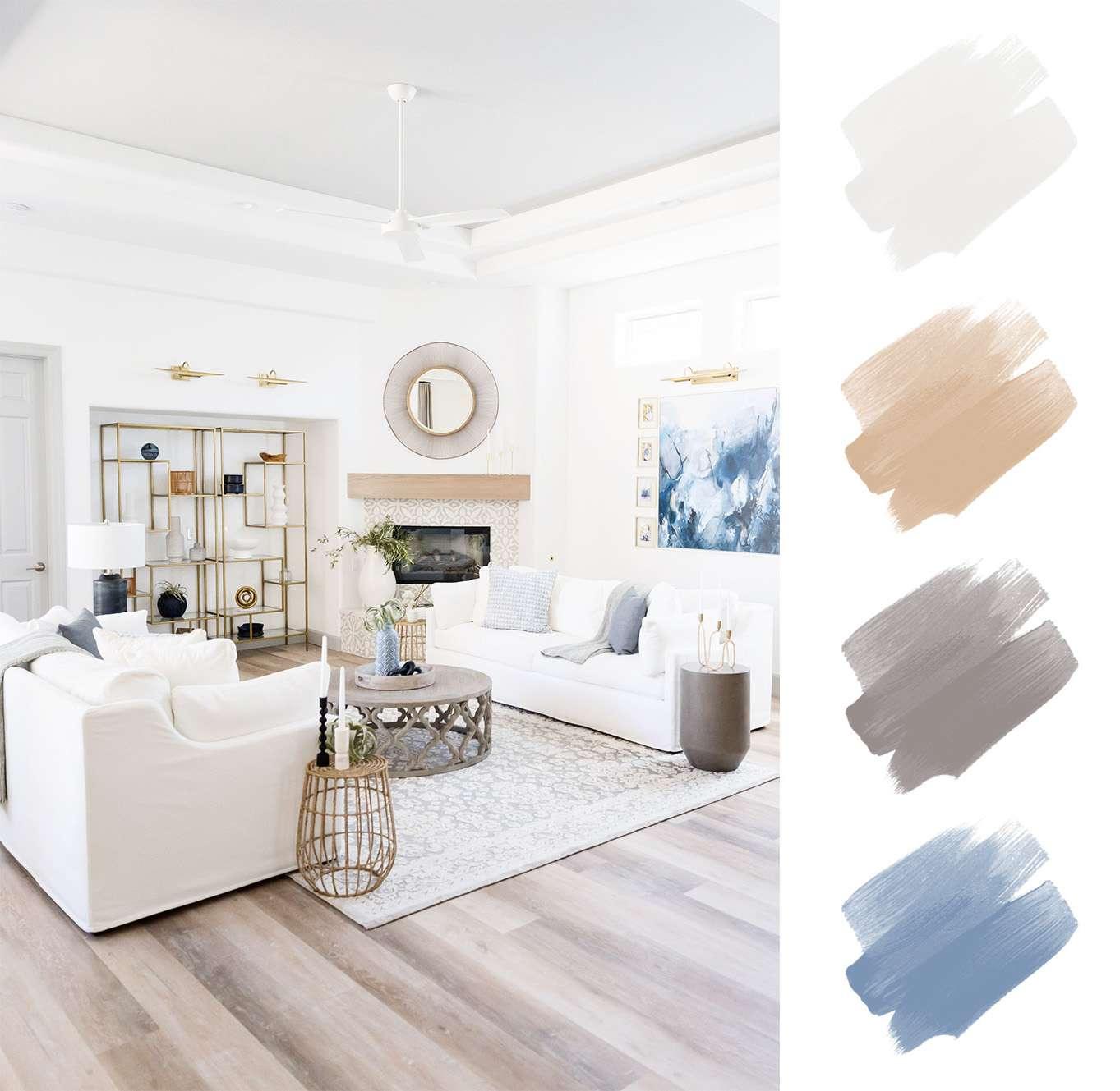 neutral color palette - white, tan, grayish brown, blue
