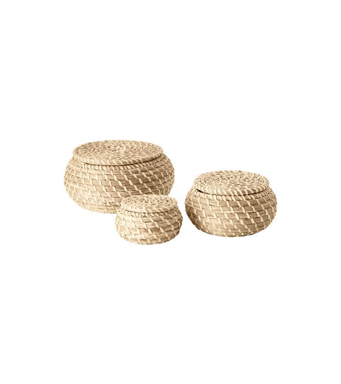 IKEA Fryken Seagrass Box with lid, Set of 3