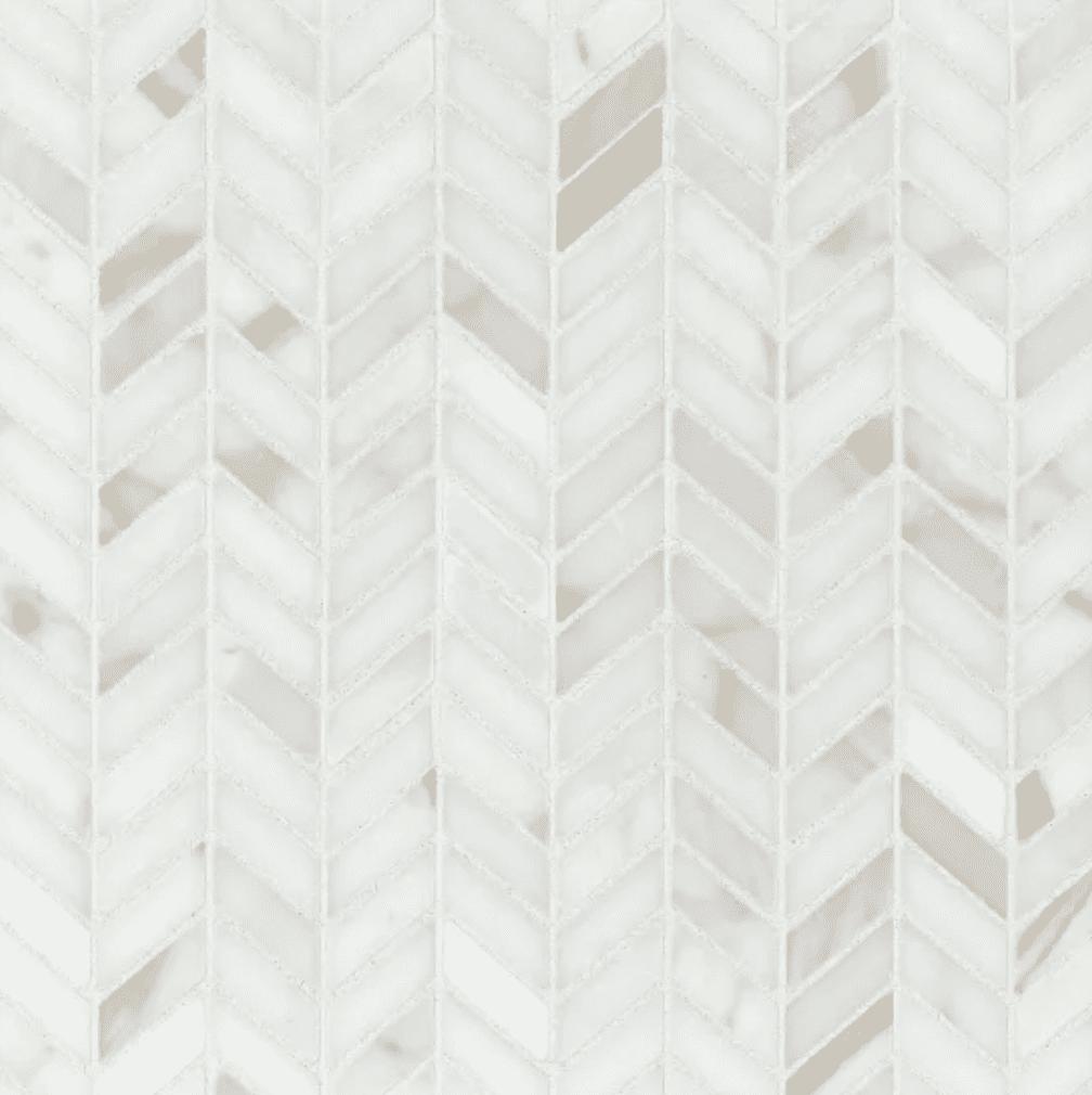 White herringbone tiles you can buy at Bedrosians Tile & Stone