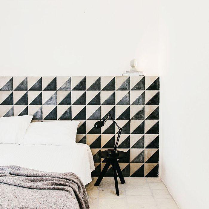 Bloqueo de color con mosaico blanco y negro