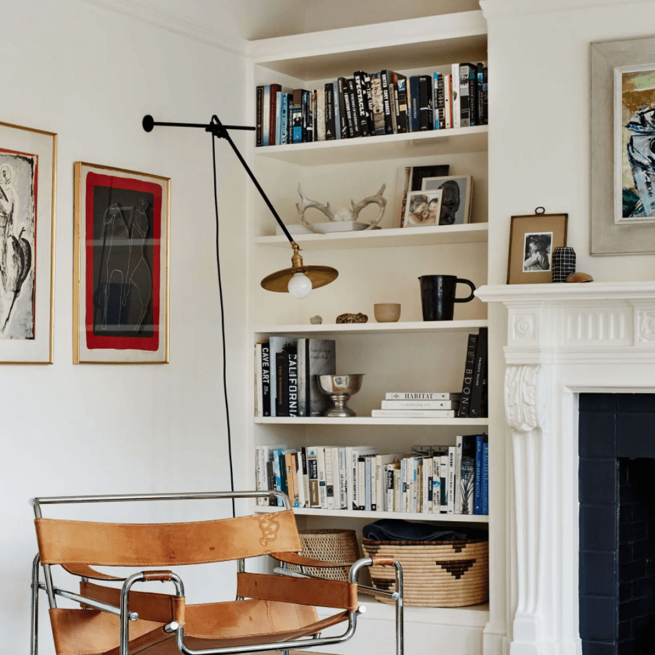 A living room with industrial furniture and decor