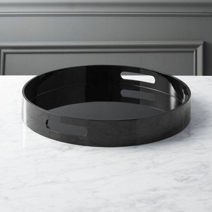 hi-gloss round black tray cheap Halloween decor