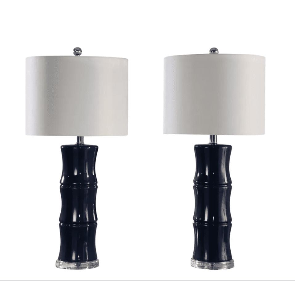 Abbyson Singapore Navy Ceramic 30-inch Table Lamp