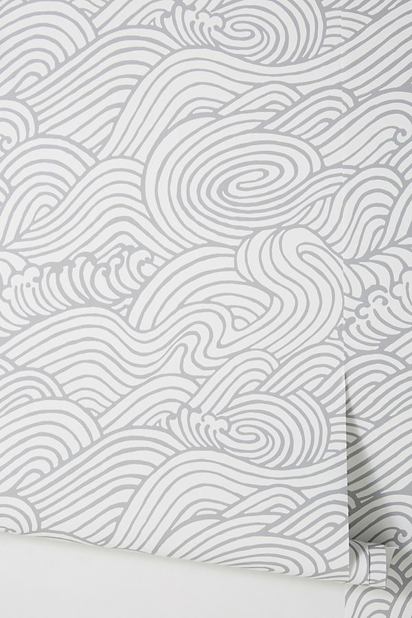 Anthropologie Mare Wave Wallpaper—Bathroom Color Trends