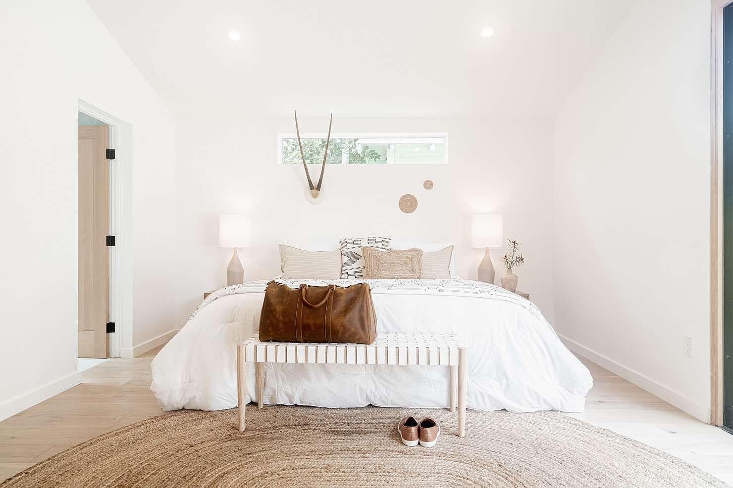 Bright, white, Scandi bedroom