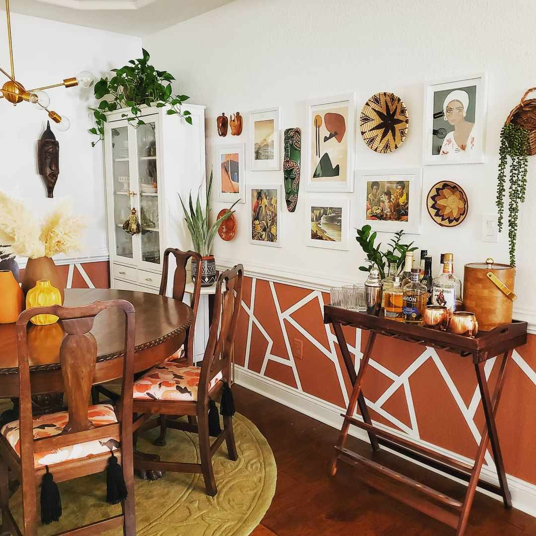 Orange and warm colored dining room