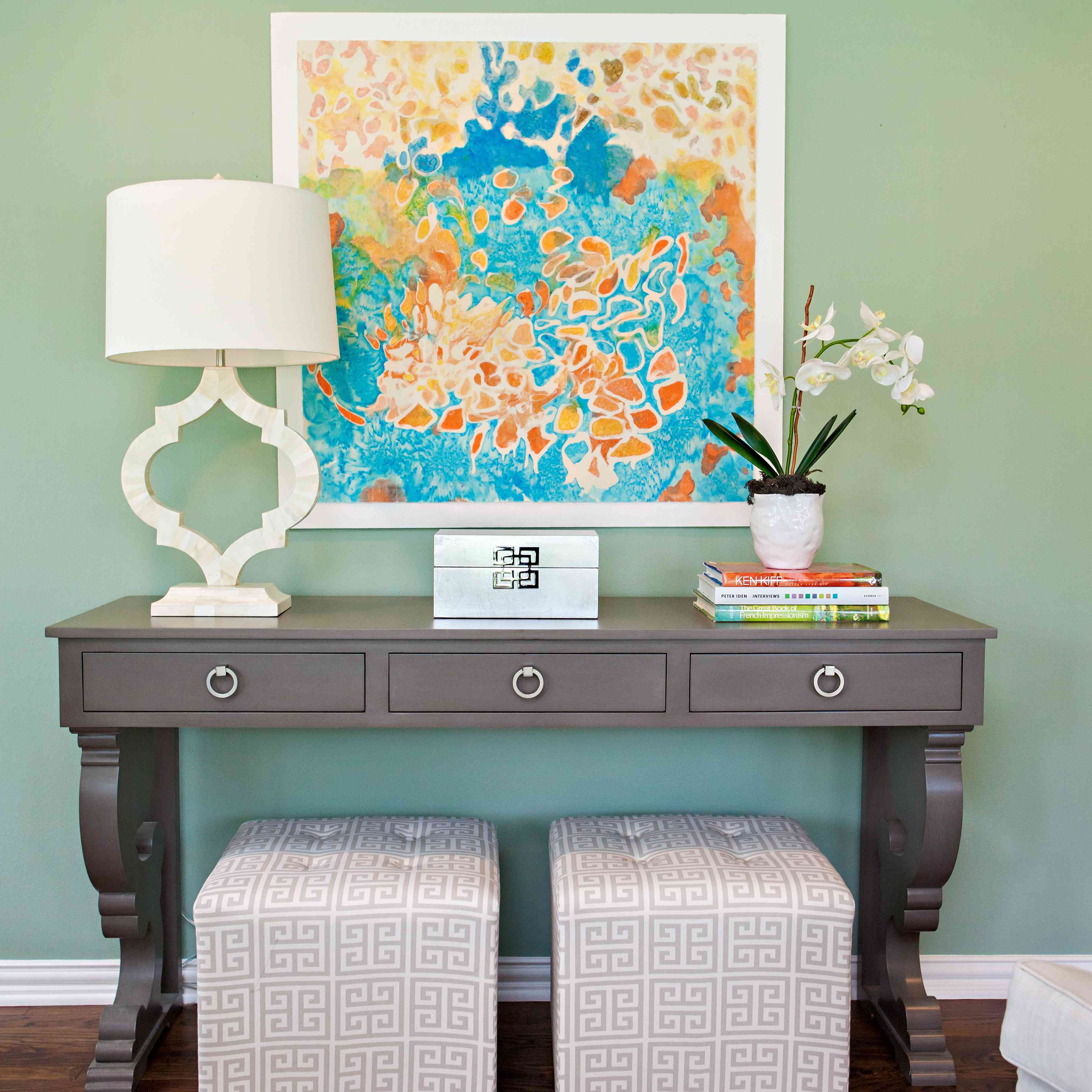 Entryway with blue green walls