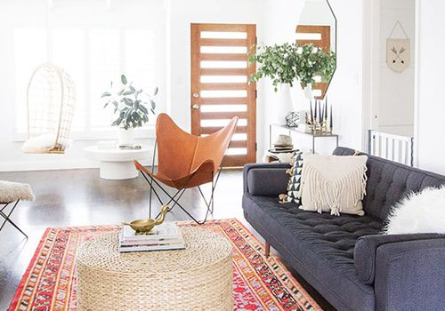 Living room with rattan storage coffee table