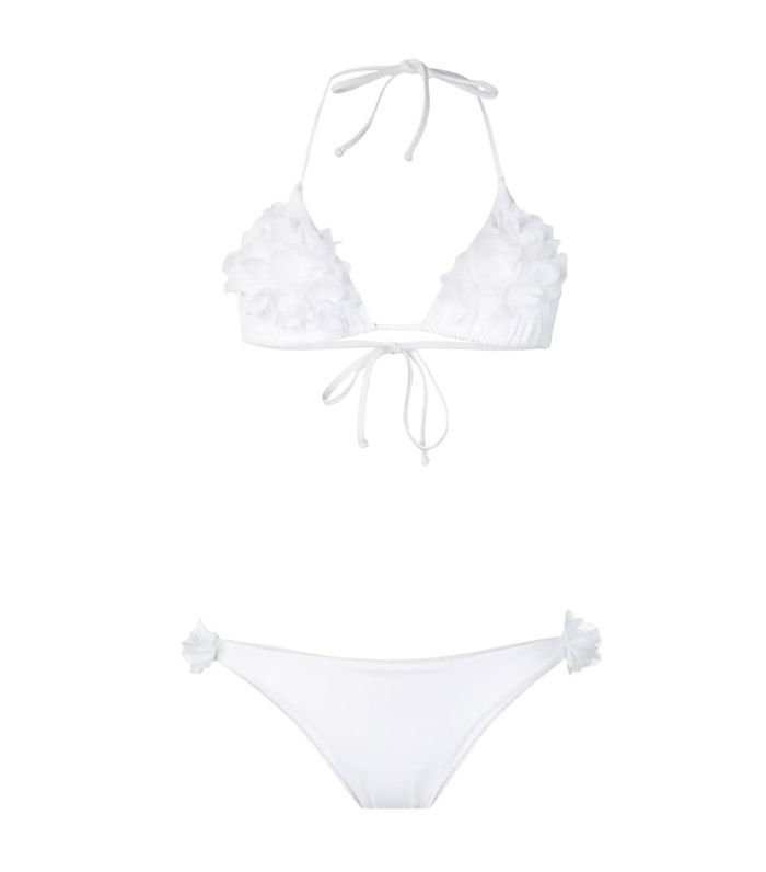 floral appliqué bikini set